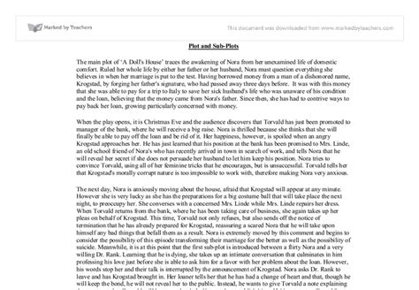 a doll house full text pdf plot and sub plots in a doll s house gcse english marked by teachers com