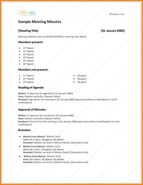 sample meeting minutes template authorization letter pdf