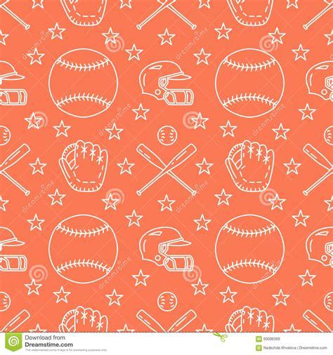 pattern background flat baseball softball sport game vector seamless pattern