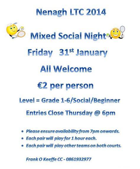friday night social friday august 5th at 6 30 p m at friday night social tennis 31st january nenagh lawn
