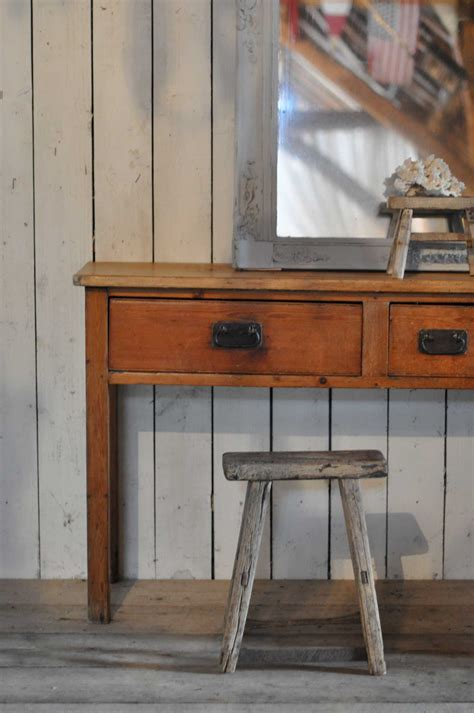 large  pine hallway console table   drawers