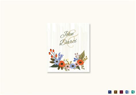 wedding place card template indesign summer floral wedding place card design template in
