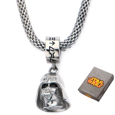 25 Wars Darth Vader Necklace Kalung Fandom Import Murah stainless steel wars darth vader charm on mesh 16in chain swdv3dch nk2