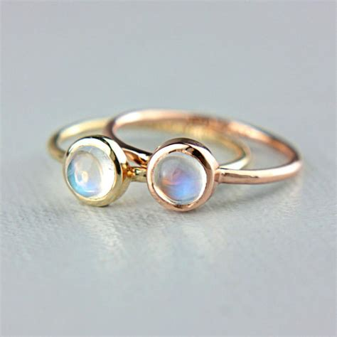 moonstone gold ring 14k yellow white gold rainbow