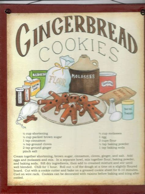 gingerbread cookies recipe plaque retro primitive country