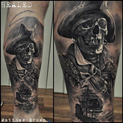 pirate skeleton on guys leg best tattoo design ideas