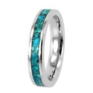 10k white gold wedding ring inlaid with gorgeous turquoise