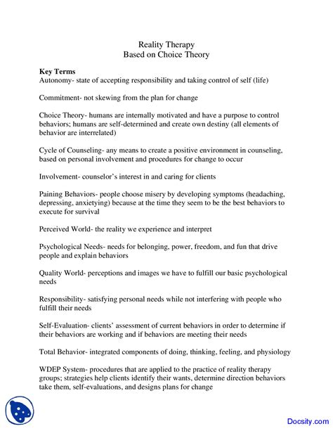 Reality Therapy Worksheets