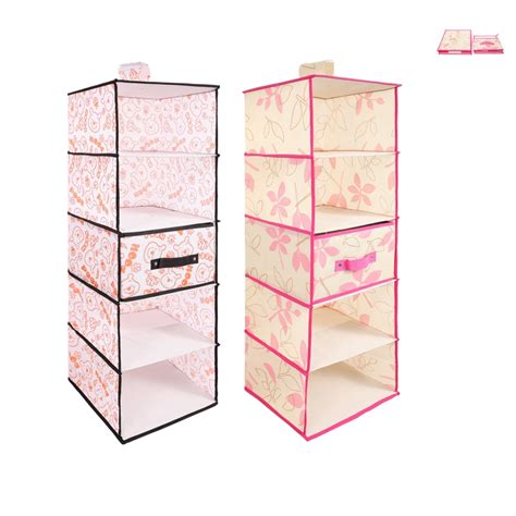 Hanging Storage Bins For Closets 5 Shelf Closet Divider Container Organizer Wardrobe