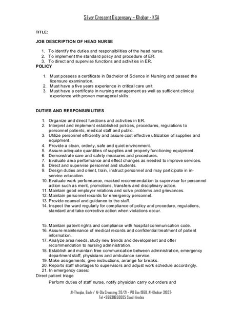 Icu Resume Description Description