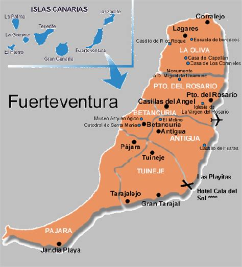 printable road map fuerteventura maps for hotel playitas resort