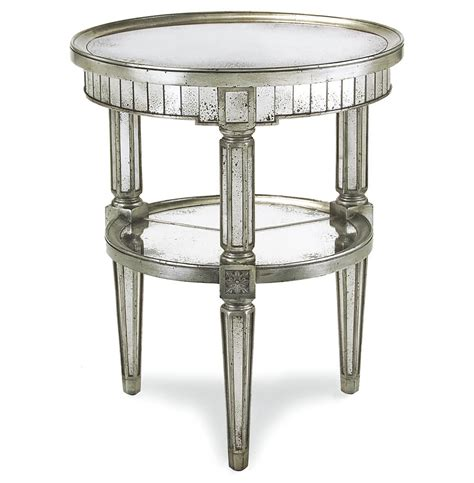Silver Side Table Joelle Regency Antique Silver Leaf Mirror Side End Table Kathy Kuo Home