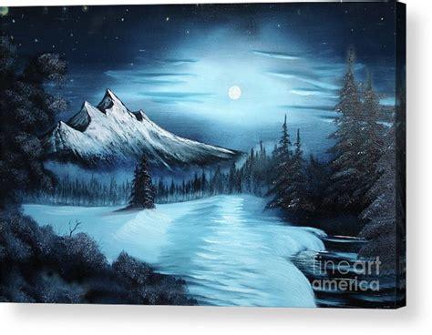 bob ross painting or acrylic winter painting a la bob ross acrylic print by bruno santoro
