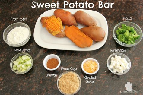 topping for baked potato bar potato bar toppings sweet potato bar healthy ideas for kids