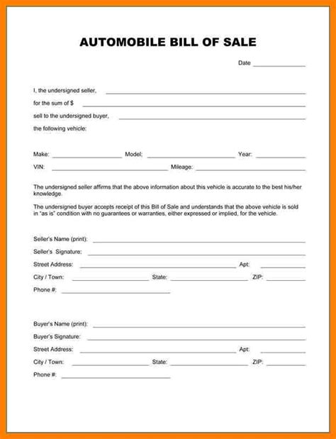 as is document template 6 car bill of sale sold as is lease template