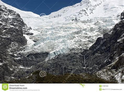 rugged mountain range glacier on rugged mountain range mount cook national park new zealand stock photo image