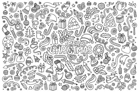 merry christmas doodles christmas adult coloring pages