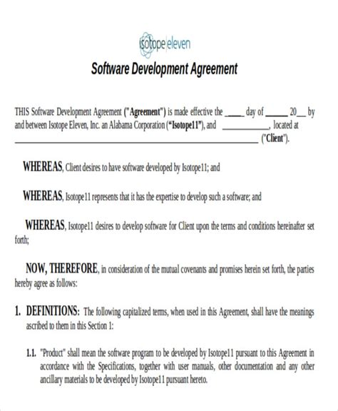 7 Development Agreement Contract Sles Sle Templates Software Developer Contract Template