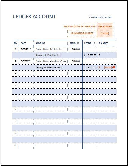 T-Ledger Account Sheet Template for MS Excel | Excel Templates Office Templates Employee Information