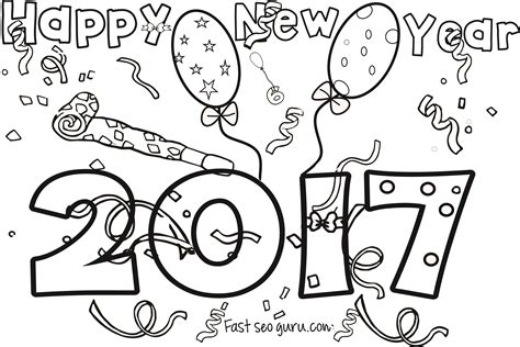 New Years 2017 Coloring Page For Kids New Year Coloring Page