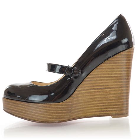 christian louboutin patent leather wood wallis wedge shoes