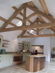 oak trusses for vaulted ceiling in kitchen could extend