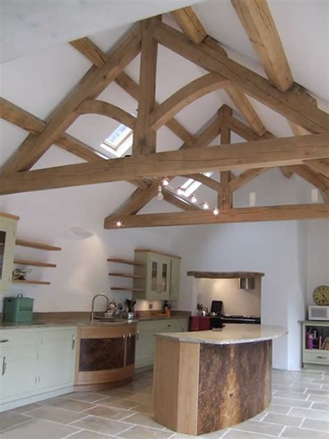 Gabled Ceiling Oak Trusses For Vaulted Ceiling In Kitchen Could Extend