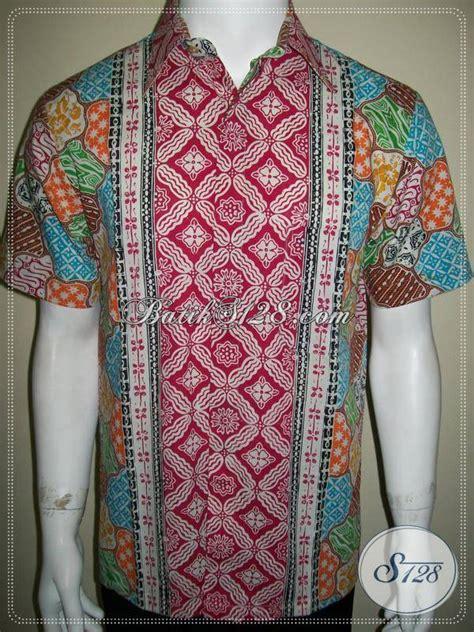 Kemeja Tenun Tangan kemeja batik tangan pendek santai motif sekar jagad warna