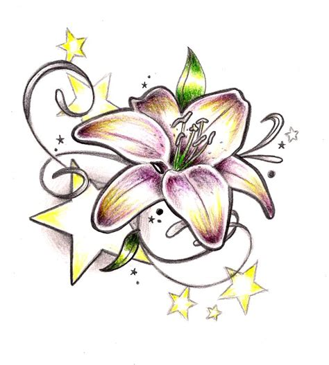 tattoo flower stars designs 63 lily with stars tattoos ideas