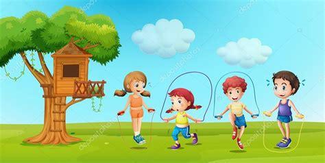 imagenes de niños jugando ala cuerda ni 241 os saltando la cuerda en el parque vector de stock