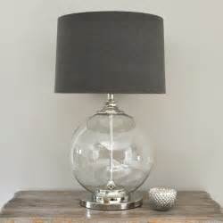 Glass ball table lamp and gray shade by primrose amp plum contemporary