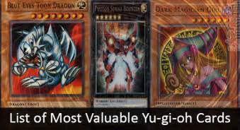 List of most valuable yu gi oh cards list acid