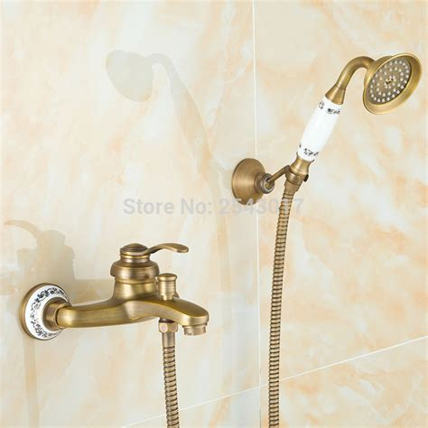 Vintage Style Antique Shower Bathroom Shower Set Bronze Shower Mixer Blue And White Porcelain Factory Direct Low Price Shower Faucet Antique Bronze Copper Shower Set Bathroom Telephone Style