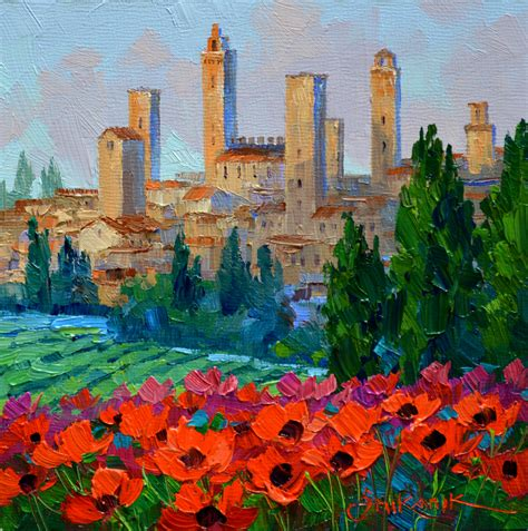 paint with a twist the falls san gimignano poppies mikki senkarik