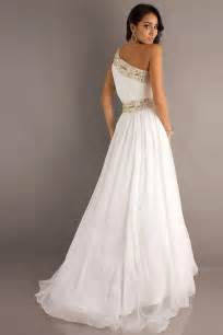 tailor made beaded one shoulder white prom dress on sale