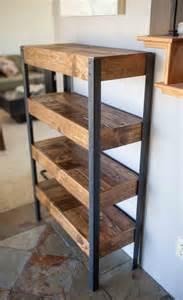 Wood And Metal Bookshelf Pallet Wood And Metal Leg Bookshelf