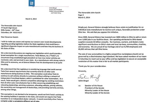 Complaint Letter To Car Dealer General Motors Sends Anti Tesla Direct Sales Letter To Ohio Governor Inside Evs