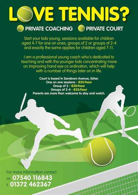 tennis templates free leaflet design for tennis coaching for by www