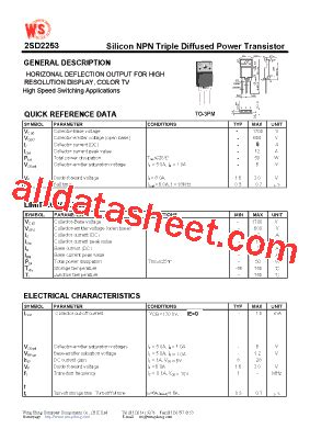 2SD2253 Datasheet(PDF)   Wing Shing Computer Components