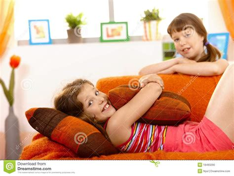 y girl on couch cute small girl on sofa stock photo image 18493290