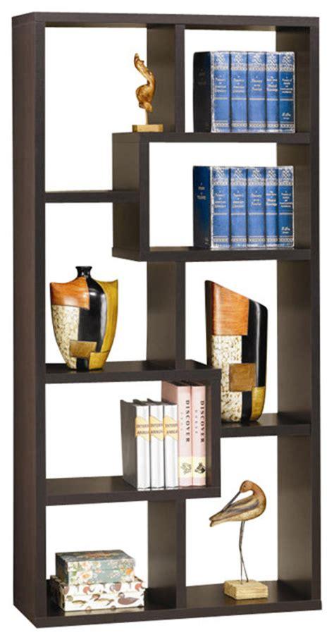 asymmetrical cube bookcase with shelves modern deep cappuccino 8 spacious compartments