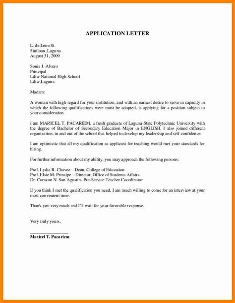 unsolicited application letter for fresh graduate sle of application letter for fresh graduate