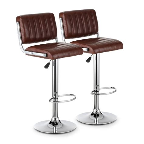 2pcs pu leather adjustable counter swivel bar stool pub ikayaa 2pcs set of 2 modern pu leather swivel bar stools