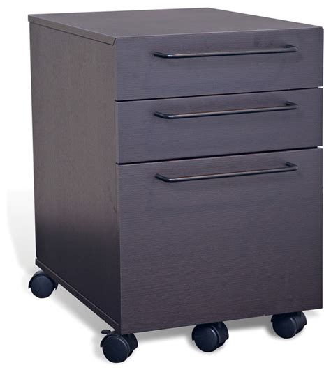Modern File Cabinet 3 Drawer Mobile Pedestal File Cabinet Espresso Modern Filing Cabinets By Unique Furniture