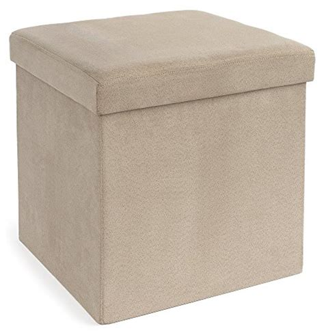 Microsuede Storage Ottoman Fhe Microsuede Folding Storage Ottoman 15 By 15 By 15 Inches Beige Coconuas219