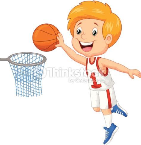 dibujos niños jugando baloncesto ni 241 o peque 241 o jugando baloncesto arte vectorial thinkstock
