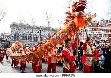 new year feb 14th float in new year parade stock photo