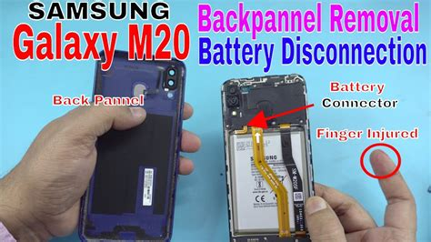 samsung galaxy m20 backpanel removal battery disconnection teardown disassembly