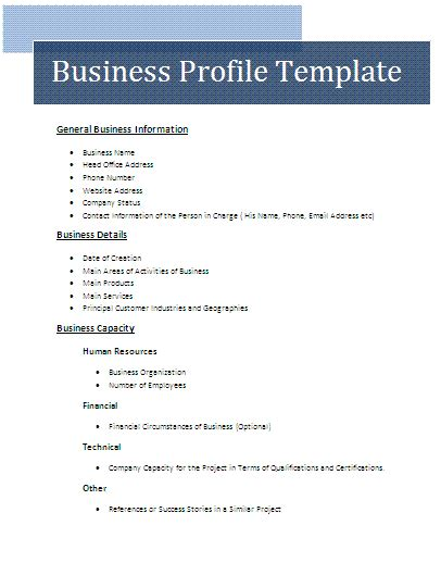 business template business profile template free business templates