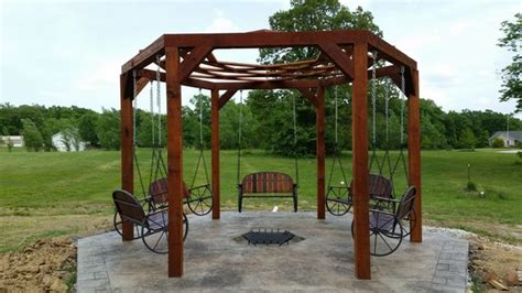 hexagon fire pit swing hexagon swing with sunken fire pit 8 steps with pictures